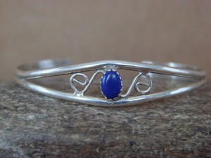 Navajo Indian Jewelry Sterling Silver Lapis Bracelet by J. Lincoln