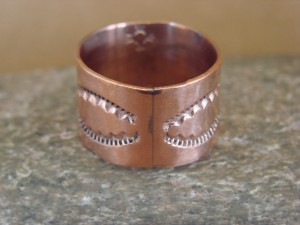 Navajo Indian Jewelry Copper Hand Stamped Ring by Douglas Etsitty, Size 10 1/2