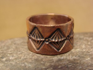 Navajo Hand Stamped Copper Ring by Douglas Etsitty, Size 9 1/2