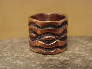 Navajo Hand Stamped Copper Ring by Douglas Etsitty, Size 6