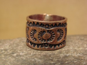 Navajo Hand Stamped Copper Ring by Douglas Etsitty, Size 8 1/2
