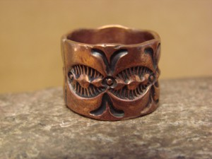 Navajo Hand Stamped Copper Ring by Douglas Etsitty, Size 7 1/2