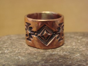Navajo Hand Stamped Copper Ring by Douglas Etsitty, Size 6 1/2
