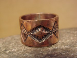 Navajo Hand Stamped Copper Ring by Douglas Etsitty, Size 9