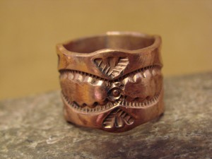 Navajo Hand Stamped Copper Ring by Douglas Etsitty, Size 8