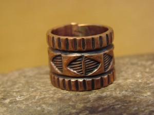 Navajo Hand Stamped Copper Ring by Douglas Etsitty, Size 4 1/2