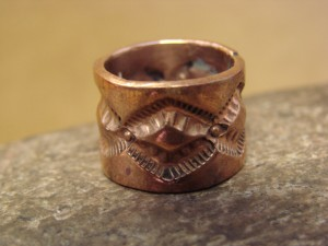Navajo Hand Stamped Copper Ring by Douglas Etsitty, Size 5