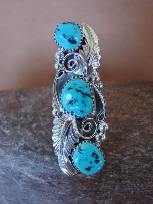 Native American Jewelry Sterling Silver Turquoise 3 Stone Ring, Size 5 1/2  Rita Montoya