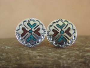 Navajo Indian Jewelry Sterling Silver Turquoise and Coral Chip Inlay Earrings!