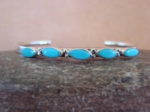 Zuni Indian Jewelry Sterling Silver Turquoise Row Bracelet - Andrea Dishta