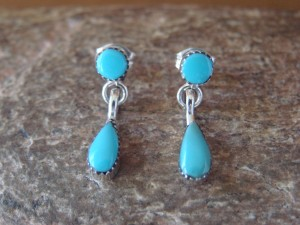 Zuni Indian Sterling Silver Turquoise Post Drop Earrings! R. Quam