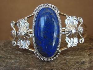 Native American Indian Jewelry Handmade Sterling Silver Lapis Bracelet