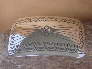 Navajo Indian Sterling Silver Hand Stamped Belt Buckle! Joann Silver