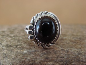 Navajo Indian Jewelry Sterling Silver Onyx Ring Size 5 by Cadman