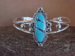 Native American Jewelry Sterling Silver Turquoise Bracelet! Johnson