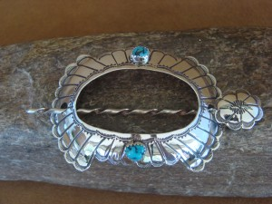 Native American Jewelry Hand Stamped Silver Turquoise Stick Barrette! Navajo Indian