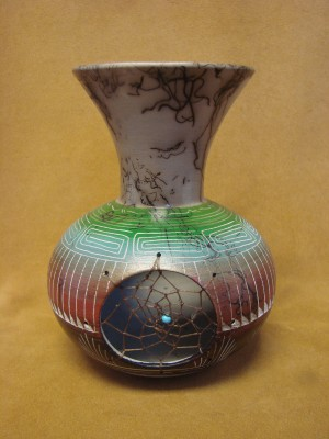Navajo Indian Pottery Hand Etched Horse Hair Dreamcatcher Vase Signed!