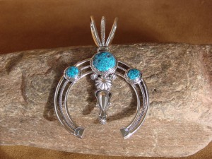 Navajo Indian Sterling Silver Turquoise Naja Pendant by Delgarito