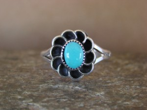 Navajo Indian Sterling Silver Turquoise Flower Ring! Size 5 1/2