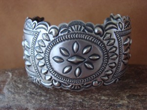 Navajo Indian Jewelry Sterling Silver Stamped Bracelet by Eugene Charley!