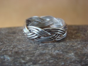Navajo Indian Hand Made Silver Band Ring by Verna Tahe!, Size 8