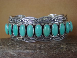 Native American Jewelry Sterling Silver Turquoise Bracelet by Marcella James