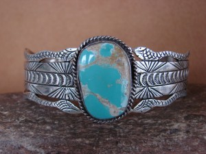 Native American Jewelry Sterling Silver Turquoise Bracelet by Russel Sam