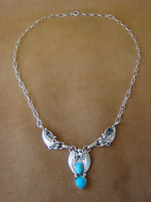 Native American Jewelry Turquoise Sterling Silver Necklace by Roger Pino
