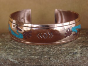 Navajo Indian Copper Turquoise & Coral Chip Inlay Kokopelli Bracelet by Begay!