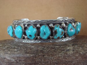 Navajo Indian Jewelry Sterling Silver Turquoise Row Bracelet! V. Yazzie