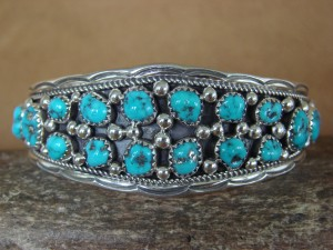 Navajo Indian Jewelry Sterling Silver Turquoise Row Bracelet! I. Chee